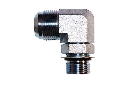 "Hydraulic Adapter - 90° Elbow - 1/4"" Male JIC x 1/4"" Male ORB - Plated Steel"