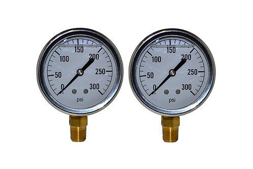 "Liquid Filled Pressure Gauge - 2-1/2"" 0 to 300 PSI - 1/4"" NPT - Single Scale 2PK"