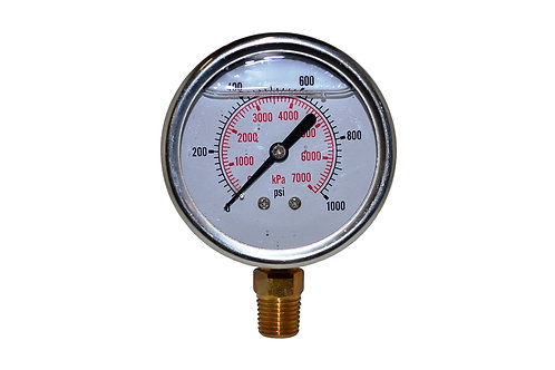 "Liquid Filled Pressure Gauge - 2-1/2"" 0 to 1000 PSI - 1/4"" NPT - Dual Scale"