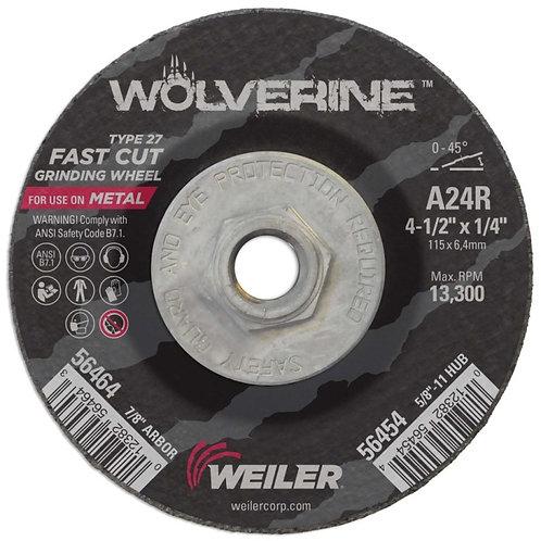 "Grinding Wheel - Wolverine - Type 27 - 4-½"" x 1/4"" - 5/8"" -11 UNC - A24R 24 Grit"