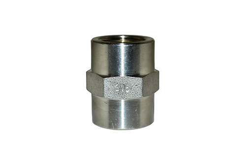 """Hydraulic Adapter - Pipe Coupler - 1/2"""" FPT x 1/2"""" FPT - Stainless Steel"""