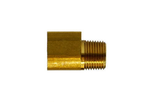 """Inverted Flare Fitting - Elbow - 1/4"""" Inverted Flare x 1/8"""" Male Pipe - Brass"""