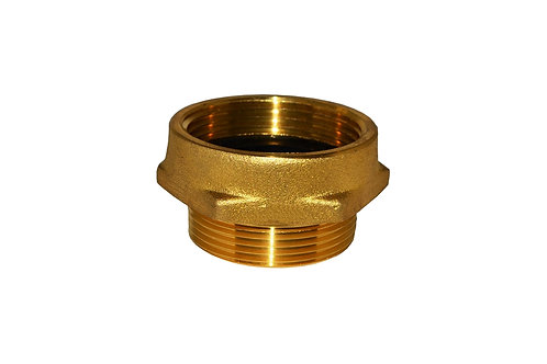 """Fire Hydrant Adapter - 1-1/2"""" Female NST/NH x 1-1/2"""" Male NPT - Brass"""