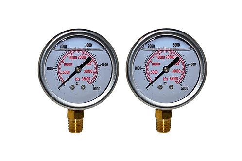 "Liquid Filled Pressure Gauge - 2-1/2"" 0 to 5000 PSI - 1/4"" NPT - Dual Scale 2 PK"