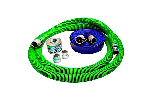 "EPDM Rubber Suction Hose - 1-1/2"" x 20' - Conventional Kit - 75' Blue Discharge"