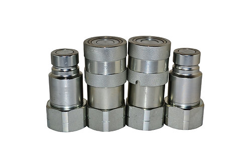 """Hydraulic Quick Coupler - ISO 16028 Flat Face 1/2"""" x 3/4"""" NPT - Complete Set 2PK"""