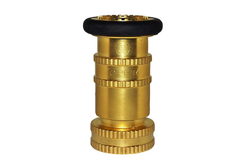 """Fire Hose Nozzle - With Bumper - 1-1/2"""" National Standard Thread (NST) - Brass"""
