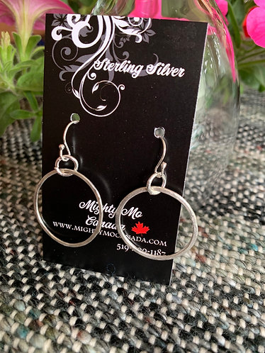 Sterling Hoop on Rings Earrings