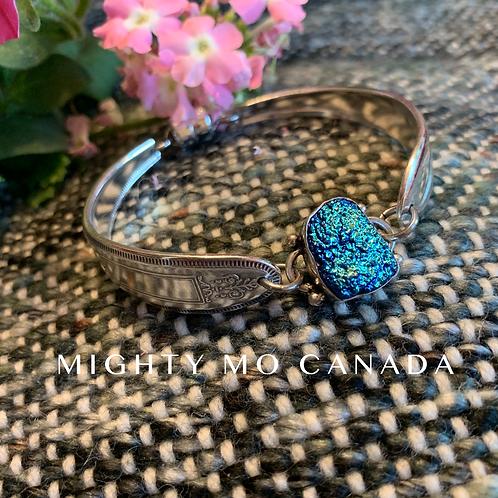 Upcycled Silverware Bracelet with Blue Druzy