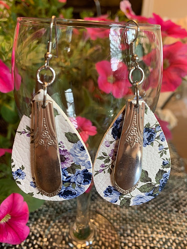 Leather and Silverware Earrings