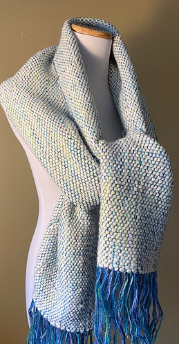 Handwoven Scarf with Shades of Blue and Cream