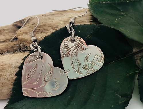 Heart shaped tea tray earrings