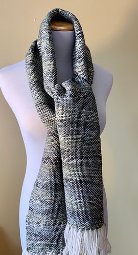 Handwoven Green and Cream Scarf