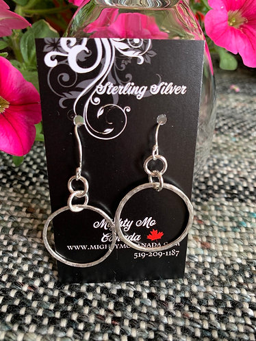 Asymmetrical Sterling Silver Hammered Earrings