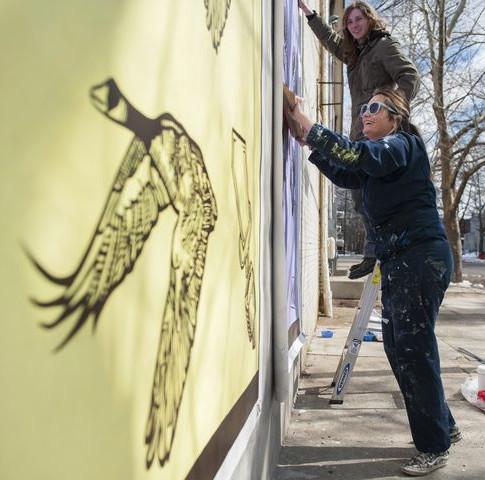 Installation of the Viola Street Murals in Camden, NJ