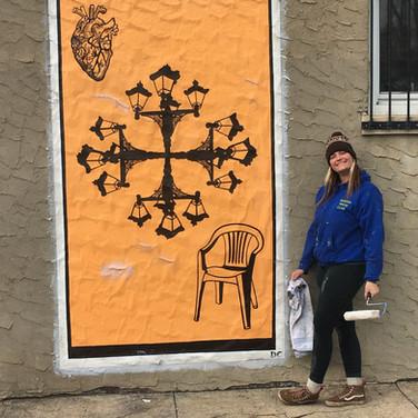 Orange Lantern Card Mural in Camden, NJ