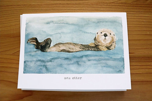 5x7 greeting card - sea otter