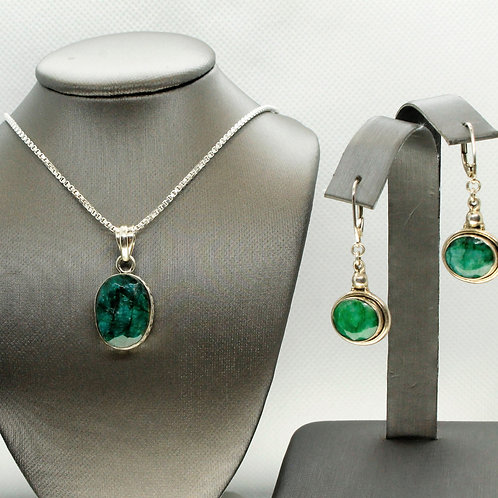 Sterling Silver Emerald Pendant and Earring Set