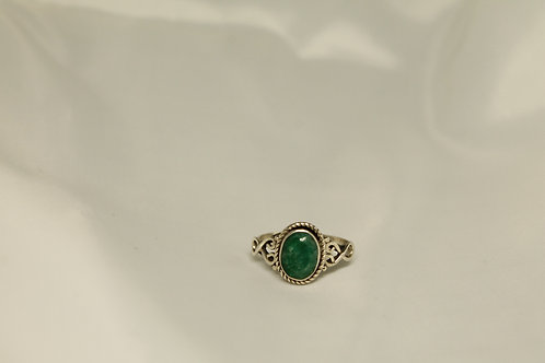 0.87CT Oval Emerald Ring In 925 Silver