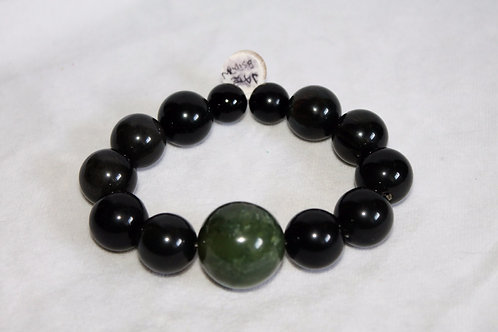 Jade & Obsidian Healing Crystal Bracelet
