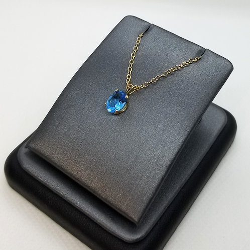 Solid 14k Yellow Gold London Blue Topaz Pendant