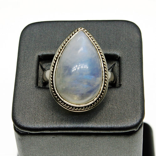 Sterling Silver Moonstone Ring (Teardrop)