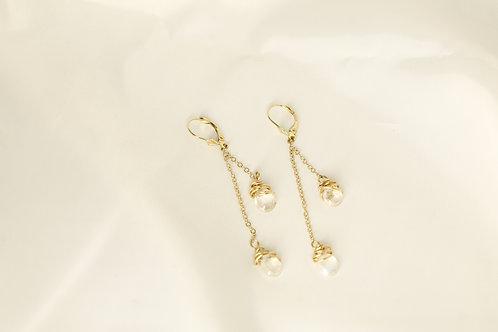 Dangling Teardrop Moonstone Earrings in 14kt Solid Gold