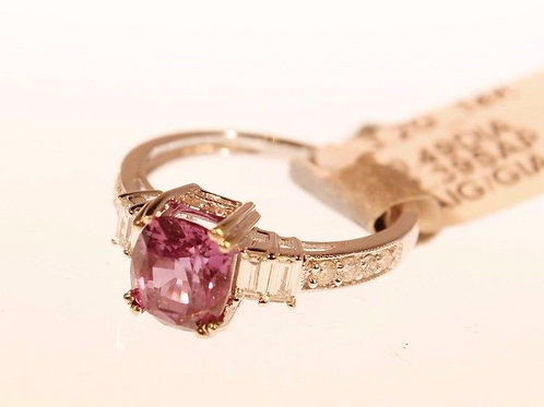 14k White Gold Cushion Unheated Natural Pink Sapphire & Dia