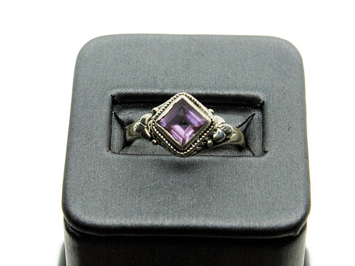 Sterling Silver Amethyst Ring (off-centered square)