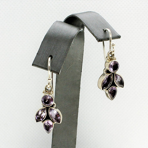 Sterling Silver Amethyst Cluster Earrings