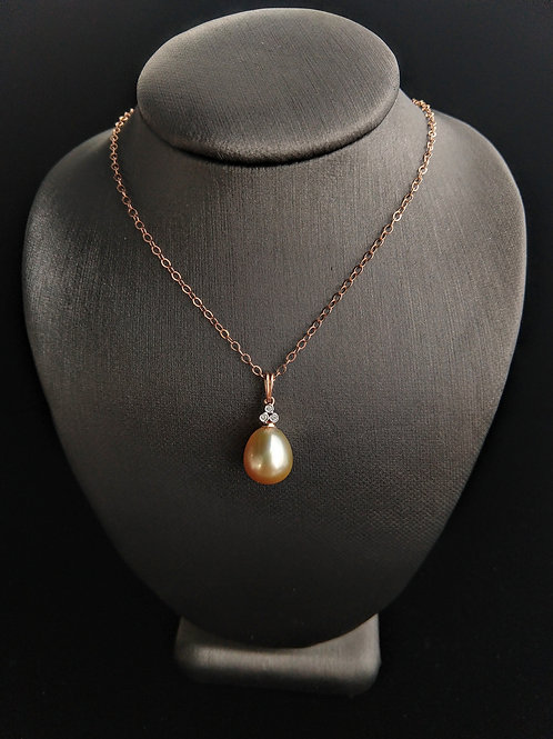 Solid 14k Rose Gold Golden South Sea Pearl Pendant with Diamonds