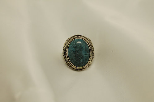 Cabochon Turquoise Ring In 925 Silver