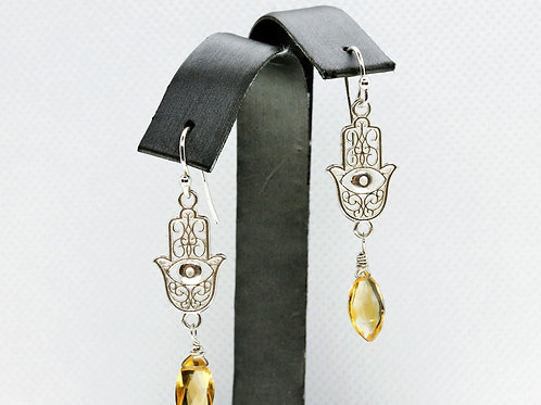 Sterling Silver Citrine Earrings with Hamsa Charm
