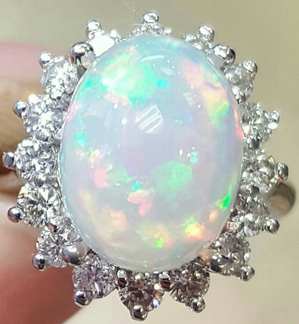 Opal & Diamond Cocktail RIng