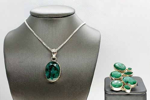 Sterling Silver Emerald Pendant and Ring Set