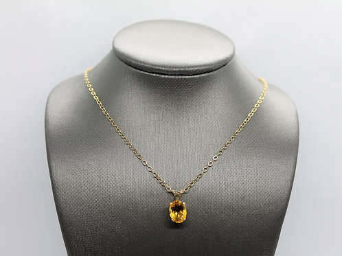 Solid 14k Yellow Gold Citrine Pendant