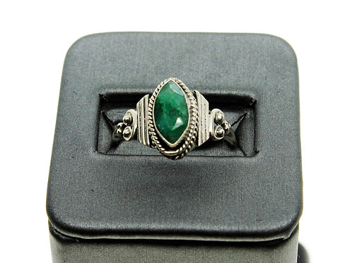 Sterling Silver Emerald Ring (Marquise)