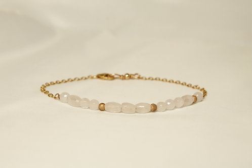 Rose Quartz Morse Code Bracelet: Love