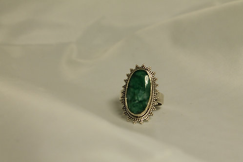 6.12 CT Oval Emerald Ring In 925 Silver