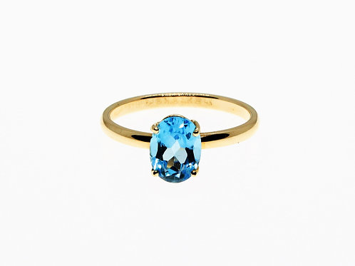 Solid 14k Yellow Gold London Blue Topaz Ring