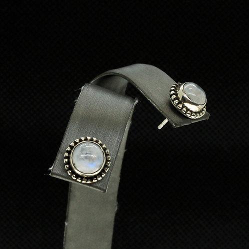 Sterling Silver Moonstone Stud Earrings