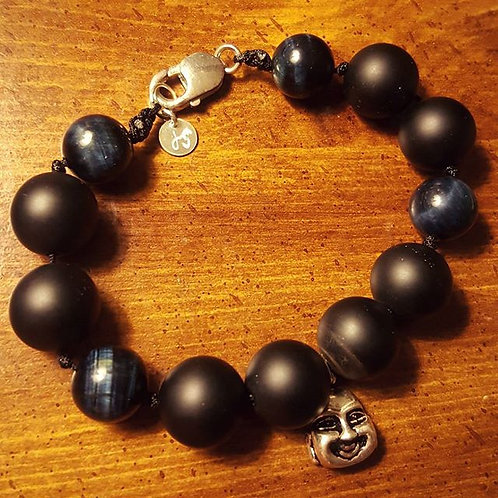 Blue Tiger Eye Gemstone with Black Agate Bracelet