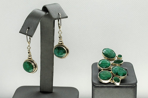 Sterling Silver Emerald Earrings and Ring Set