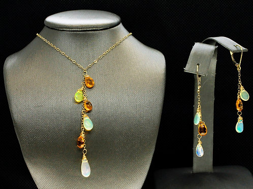Solid 18k Yellow Gold Opal & Tourmaline Set (set is optional)