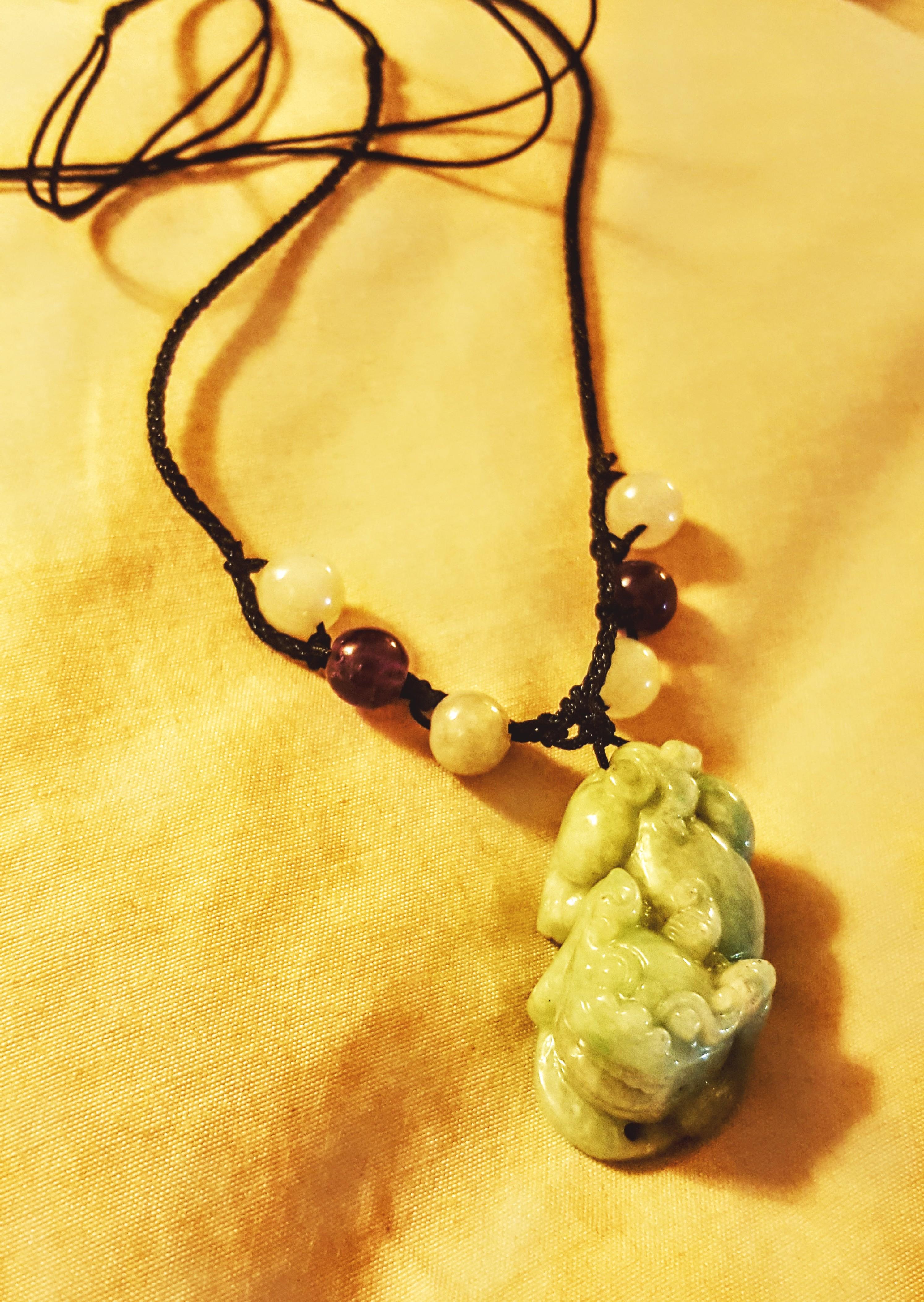Jade Kylin Necklace with Amethyst