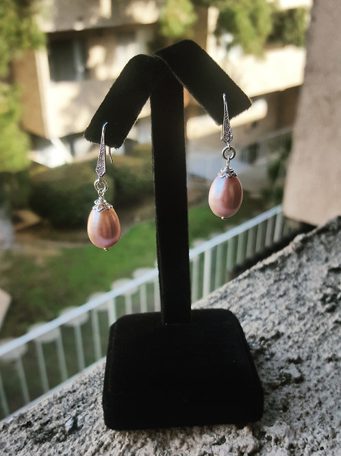 Sterling Silver Freshwater Pearl Earrings with CZ
