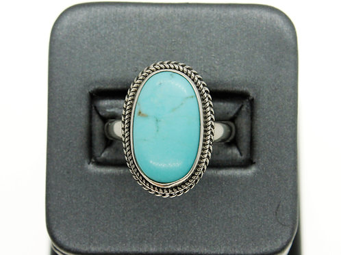 Sterling Silver Turquoise Ring ( Light Blue Oval)