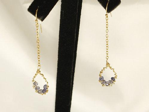 Iolite in Teardrop Frame Earrings in 14kt Gold Fill