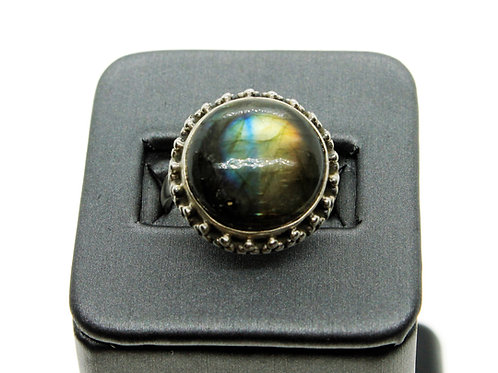 Sterling Silver Labradorite Ring (round)