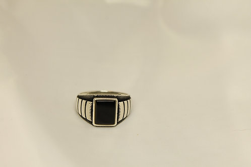 Onyx Ring In 925 Silver